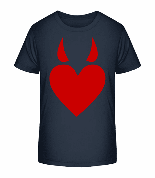 Devil Heart - Kid's Premium Bio T-Shirt - Navy - Vorn