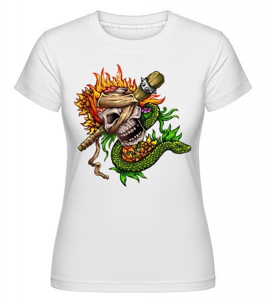 Fire Skull -  Shirtinator Women's T-Shirt - White - Vorn
