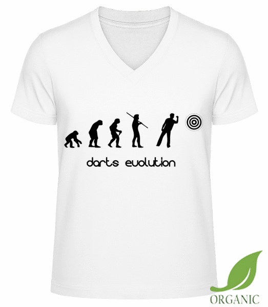 "Darts Evolution - ""James"" Organic V-Neck T-Shirt - White - Vorn"