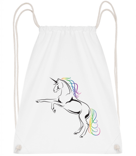 Unicorn - Drawstring Backpack - White - Vorn