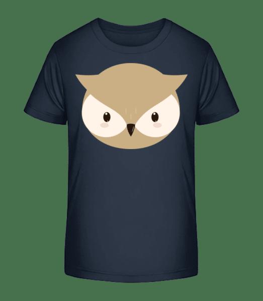 Eule Comic - Kinder Premium Bio T-Shirt - Marine - Vorn