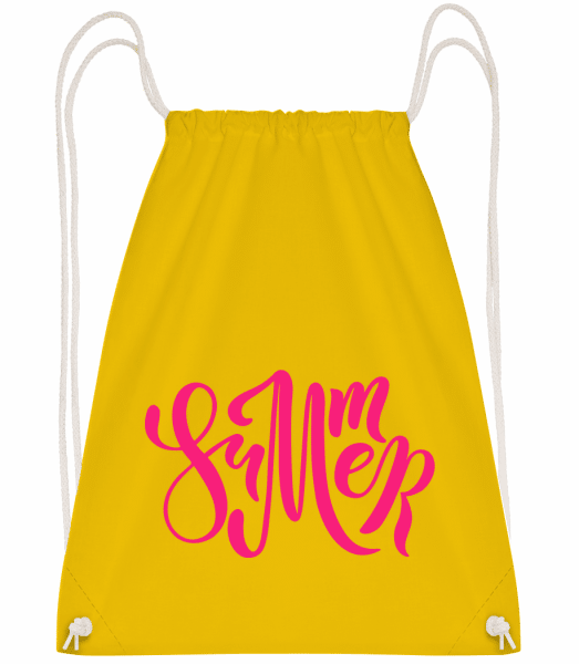 Pink Summer Sign - Drawstring Backpack - Yellow - Vorn