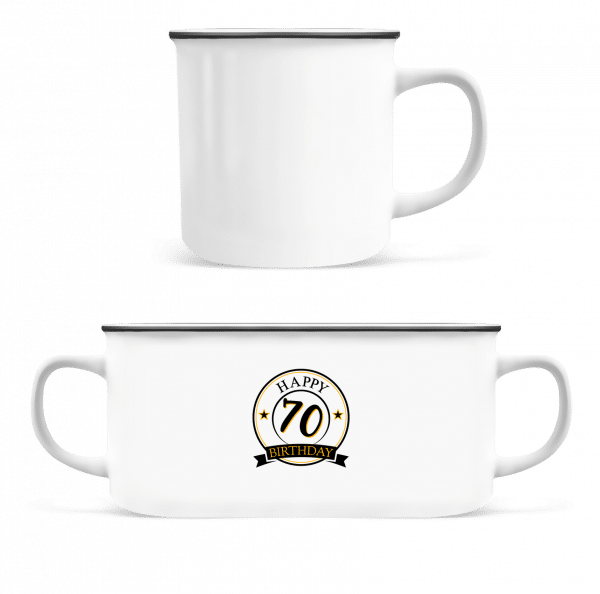Happy Birthday 70 - Enamel-cup - White - Vorn