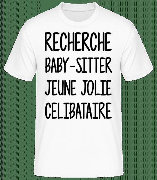 Recherche Baby-Sitter - T-shirt standard Homme - Blanc - Vorn