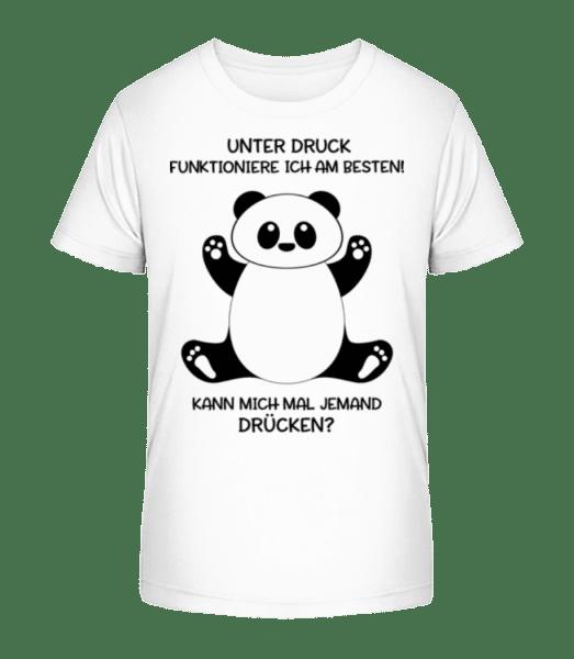 Panda Unter Druck - Kinder Premium Bio T-Shirt - Weiß - Vorn