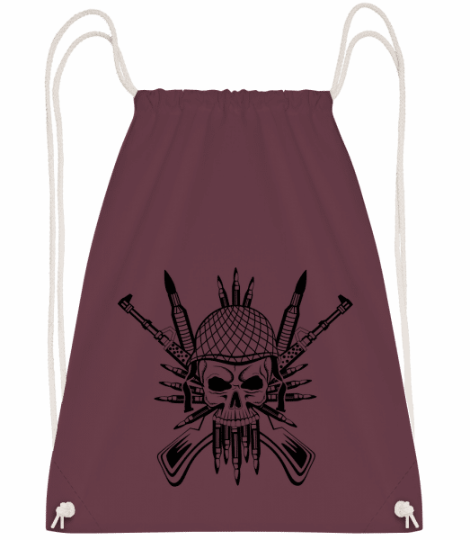 Soldier Skull Tattoo - Drawstring Backpack - Bordeaux - Vorn