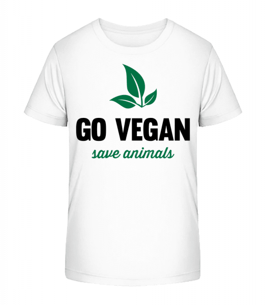 Go Vegan Save Animals - Kinder Premium Bio T-Shirt - Weiß - Vorn