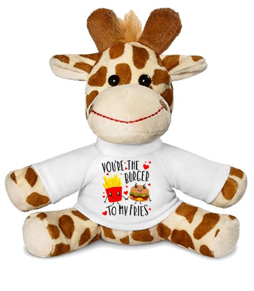 Burger To My Fries - Giraffe - White - Front