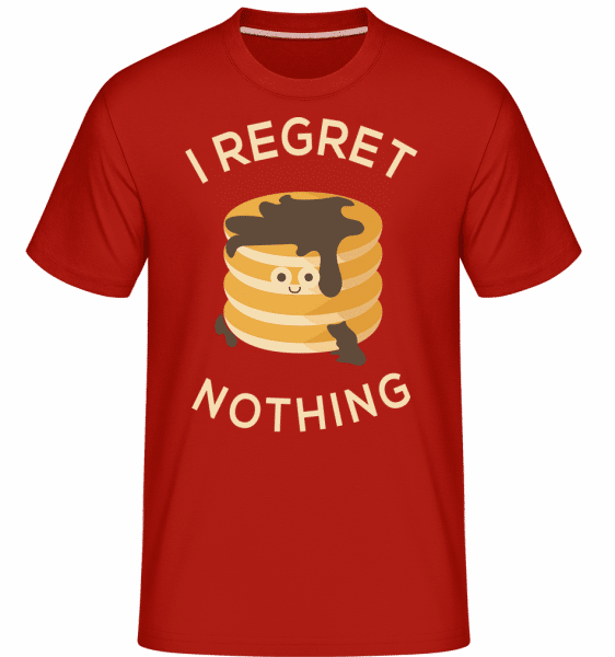 I Regreet Nothing Pancake - Shirtinator Männer T-Shirt - Rot - Vorn