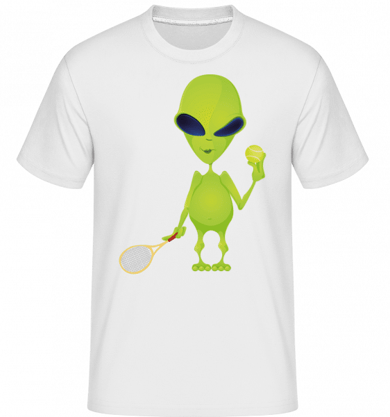 Alien Plays Tennis -  Shirtinator Men's T-Shirt - White - Vorn
