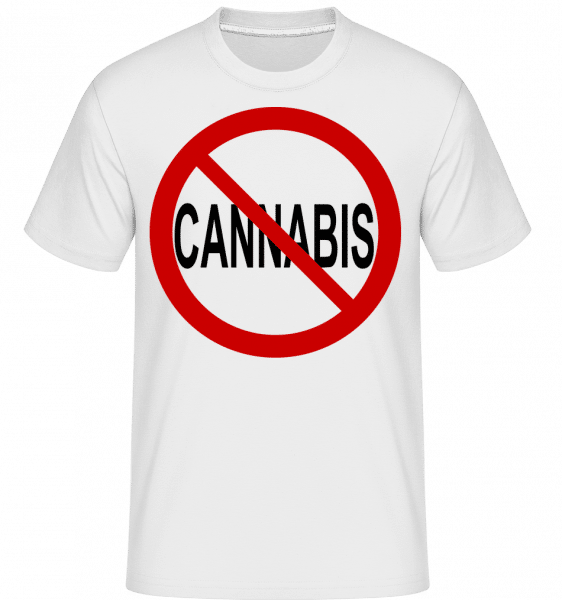 No Cannabis Allowed Sign -  Shirtinator Men's T-Shirt - White - Front