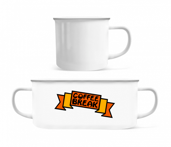 Coffee Break Logo - Enamel-cup - White - Vorn