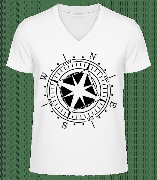 Compass - Men's V-Neck Organic T-Shirt - White - Vorn