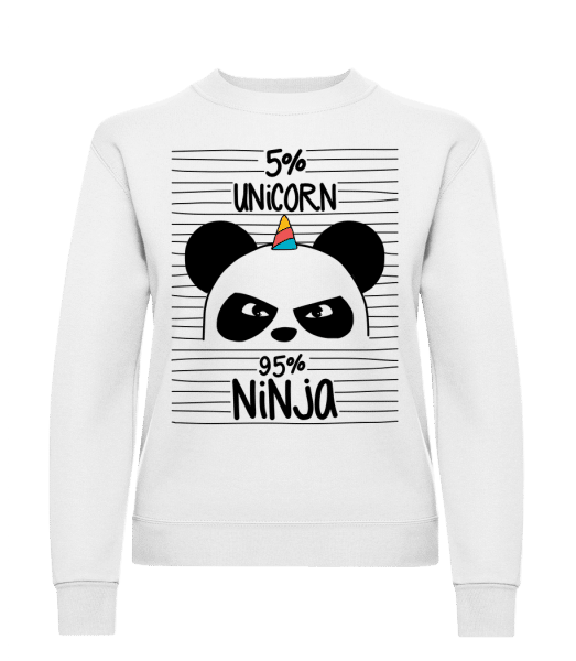 5% Unicorn 95% Ninja - Classic Ladies' Set-In Sweatshirt - White - Vorn