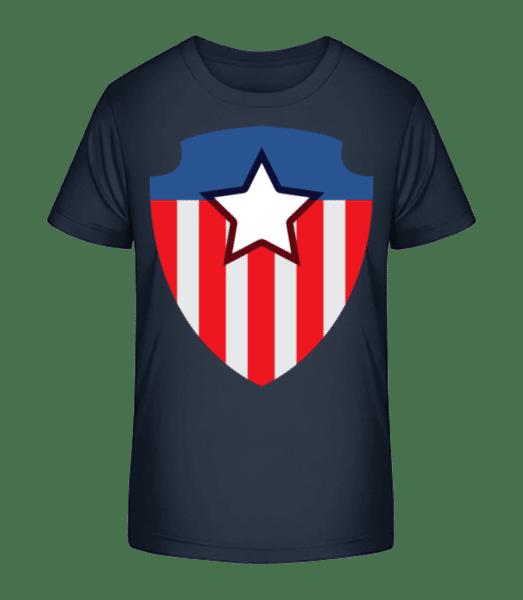 Superhero Emblem - Detské Premium Bio tričko - Namořnická modrá - Napřed