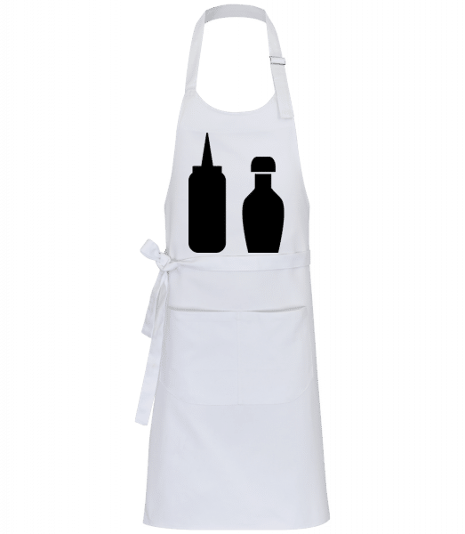 BBQ omáčkou - Profesionálna zástera - Biela - Predné
