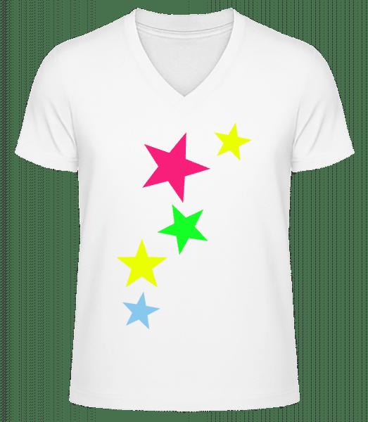 Bunte Sterne - Männer Bio T-Shirt V-Ausschnitt - Weiß - Vorn