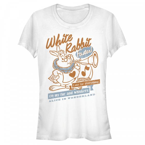 White Rabbit - Disney Alice in Wonderland - Women's T-Shirt - White - Front