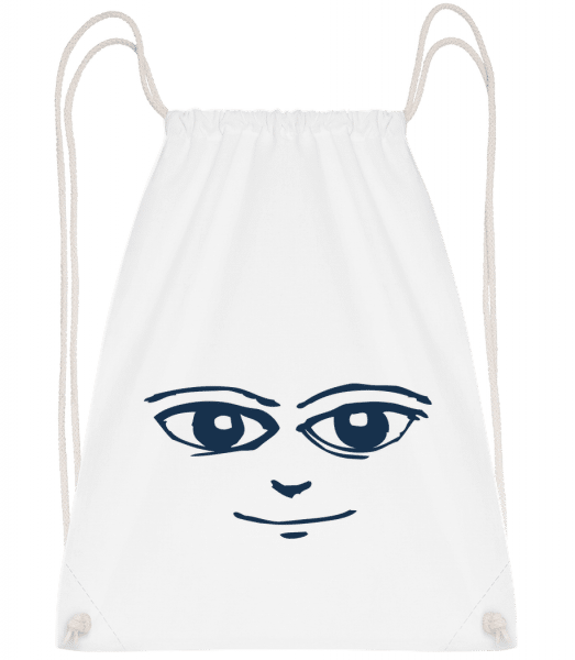 Face Symbol Blue - Drawstring Backpack - White - Vorn