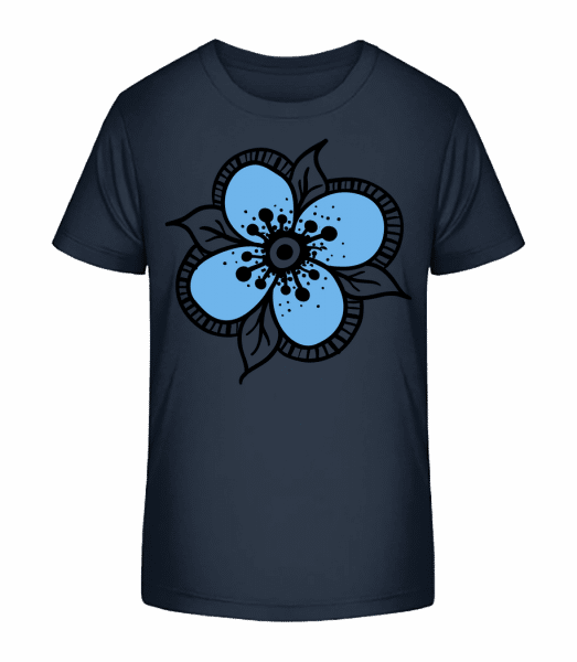 Flower Comic - Detské Premium Bio tričko - Namořnická modrá - Napřed