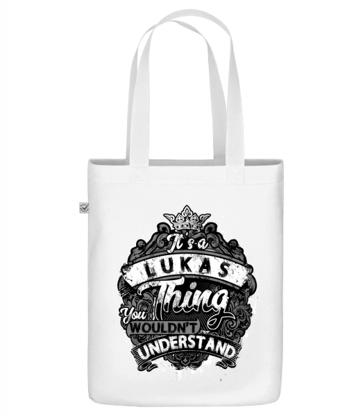 """It's A Lukas Thing - Organic """"Earth Positive"""" tote bag - White - Front"""