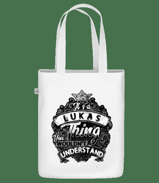 """Je to vec Lukas - Organická taška """"Earth Positive"""" - Biela - Predné"""