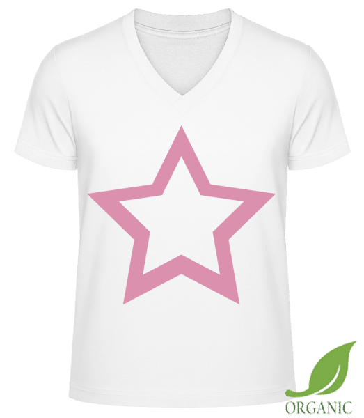 "Star Icon Pink - ""James"" Organic V-Neck T-Shirt - White - Vorn"