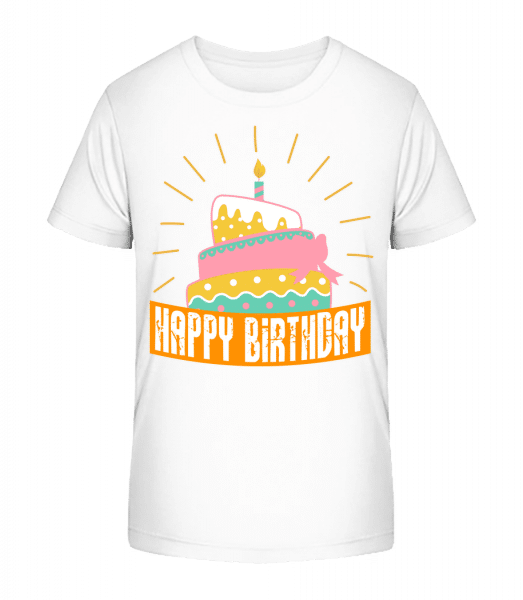 Happy Birthday Cake - Kid's Premium Bio T-Shirt - White - Vorn