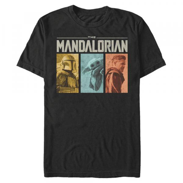MandoMon Epi Group Shot - Star Wars Mandalorian - Men's T-Shirt - Black - Front