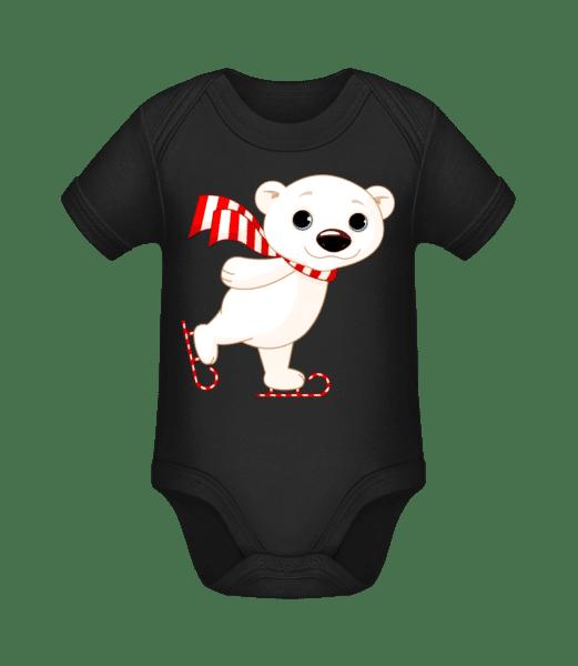 Schlittschuh Eisbär - Baby Bio Strampler - Schwarz - Vorn