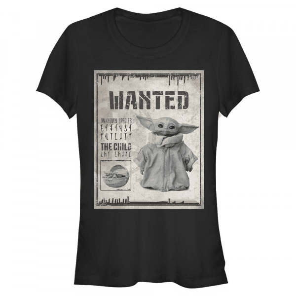 Wanted Child Poster The Child - Star Wars Mandalorian - Women's T-Shirt - Black - Front