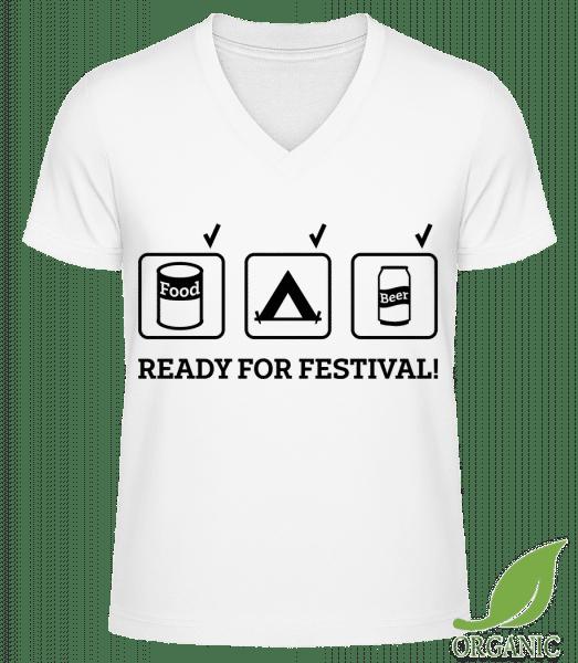 """Ready For Festival - """"James"""" Organic V-Neck T-Shirt - White - Vorn"""