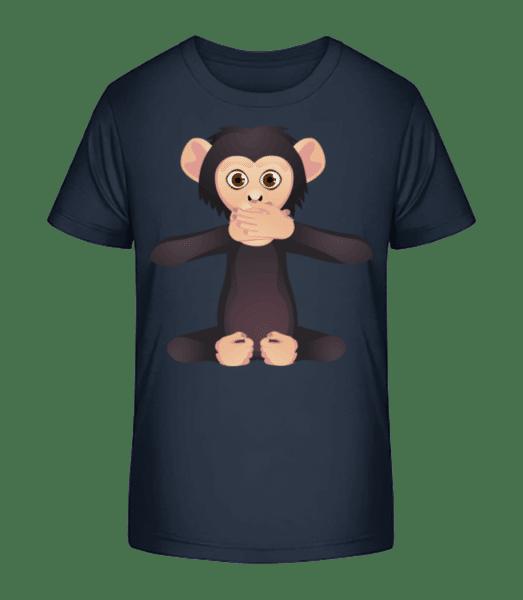 Stummer Affe - Kinder Premium Bio T-Shirt - Marine - Vorn