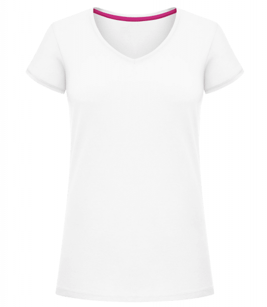 Women's V-Neck T-Shirt - White - Vorn