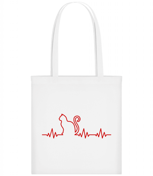 Heartbeat Cat - Carrier Bag - White - Vorn