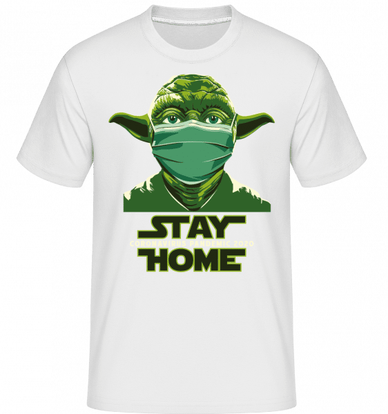 Stay Home Yoda -  Shirtinator Men's T-Shirt - White - Vorn