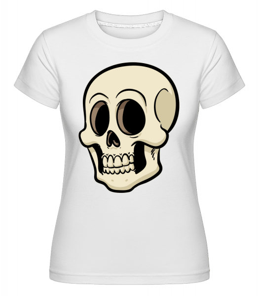 Cartoon Skull -  Shirtinator Women's T-Shirt - White - Vorn
