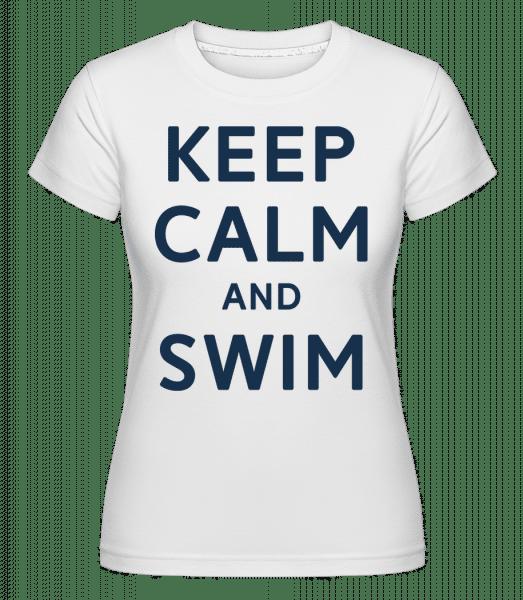 Keep Calm And Swim -  Shirtinator tričko pre dámy - Biela - Predné