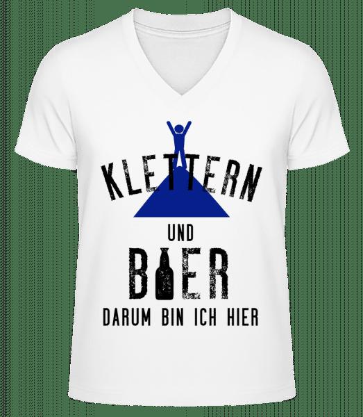Klettern Und Bier - Männer Bio T-Shirt V-Ausschnitt - Weiß - Vorn