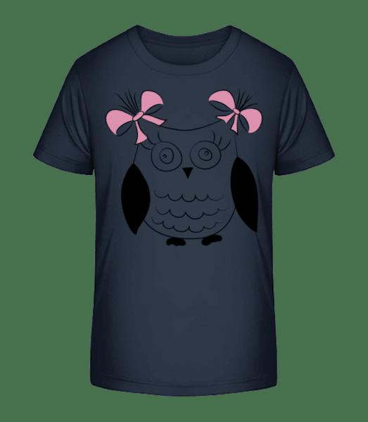 Mädchen Eule - Kinder Premium Bio T-Shirt - Marine - Vorn