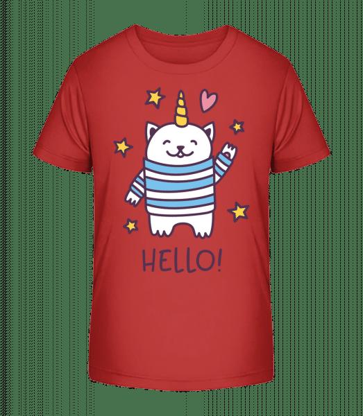 Hello Cat Unicorn - Kid's Premium Bio T-Shirt - Cherry - Vorn