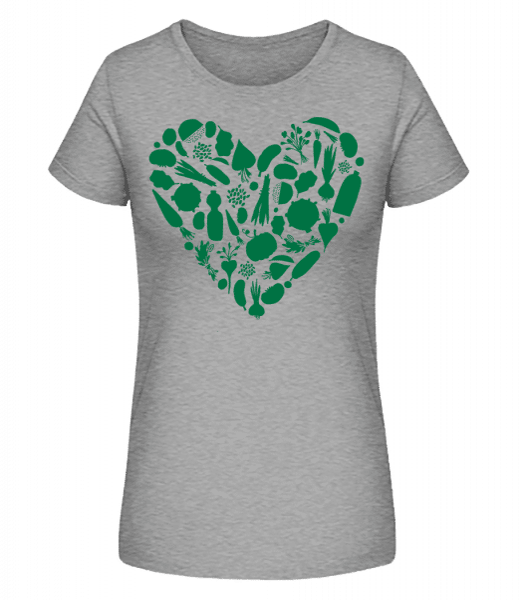 vegetariánská Heart - Dámské premium bio tričko Stanley Stella - Melírově šedá - Napřed
