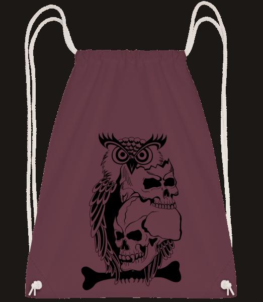 Owls Skulls Tattoo - Drawstring Backpack - Bordeaux - Vorn