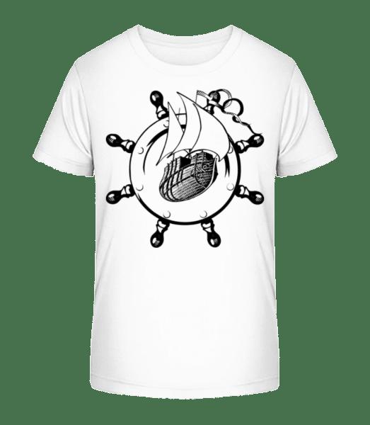 Ship Wheel Icon - Kid's Premium Bio T-Shirt - White - Vorn