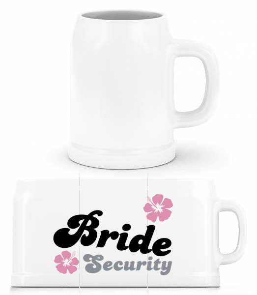 Bride Security Flowers - Beer Mug - White - Front