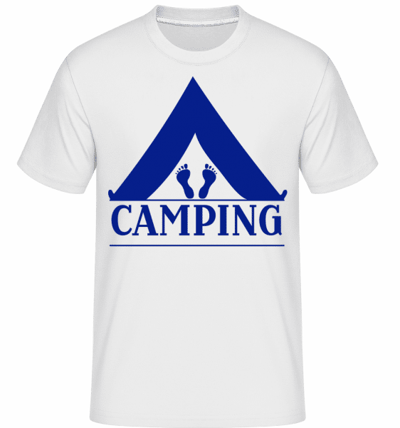Camping Logo Blue -  Shirtinator Men's T-Shirt - White - Vorn