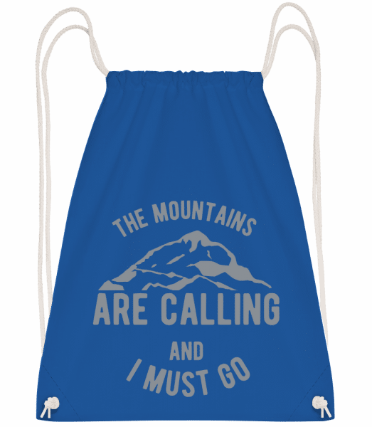 The Mountains Are Calling - Drawstring Backpack - Royal blue - Vorn