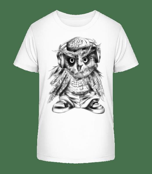 Hip Hop Owl - Kid's Premium Bio T-Shirt - White - Front