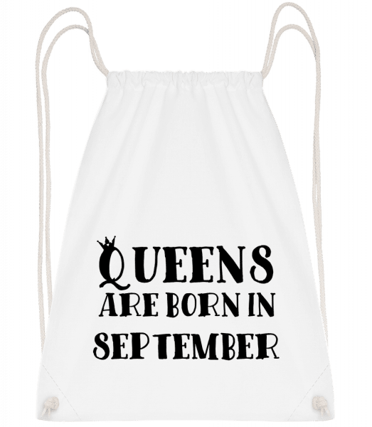 Queens Are Born In September - Drawstring Backpack - White - Vorn