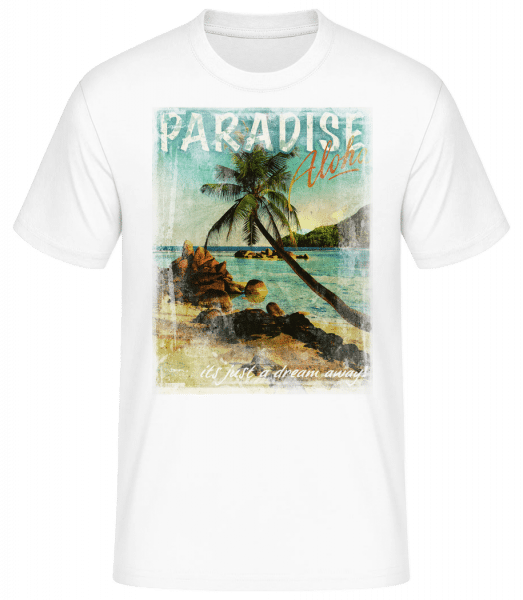 Paradise Aloha - Men's Basic T-Shirt - White - Front